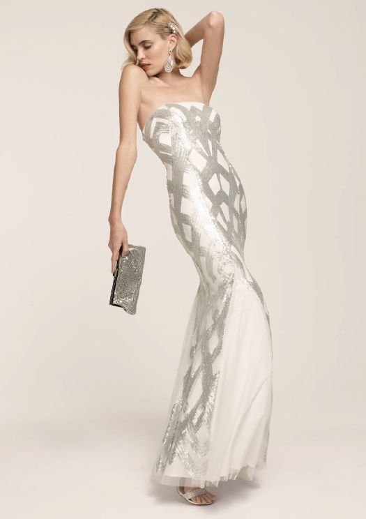 art deco inspired hollywood glam betsy adam sequined mermaid gown art deco inspired pinterest