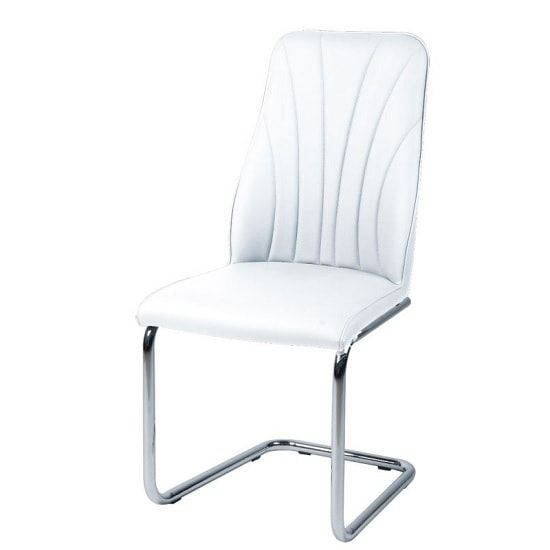 Irma Dining Chair In White Faux Leather With Chrome Legs Fabric