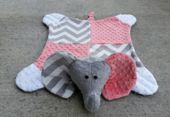 Coral & chevron grey minky dimple dot elephant by SnuggleMePals