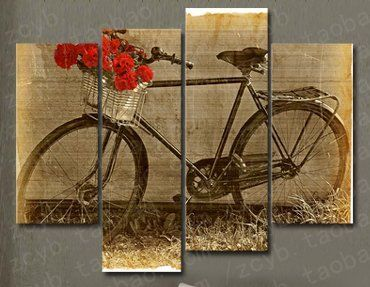 Canvas Art 4 Pieces Vintage Bicycle with Red Flower in the Basket Wall Art Canvas Print Decoration Glife Decor http://www.amazon.com/dp/B010SD2FWY/ref=cm_sw_r_pi_dp_S0WLwb1NV6T5S