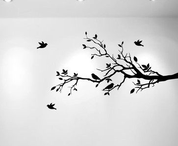 Tree branch and birds stencil tatoo pinterest arbres for Pochoir arbre