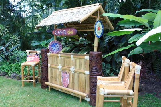 Vintage Hawaiiana Tiki Bar: comes with all decorative items- You save $650 on accessories!   TROPICAL DECOR Imagine yourself sipping a Mai Tai, Strawberry Daiquiri or other cool tropical drink by the pool while seated at your own authentic Tiki bar! Hand constructed from high quality bamboo & hardwoods, these sets are sturdy as well as beautiful . Roof panels are hand-crafted thatch. For more info check out www.tikimaster.com