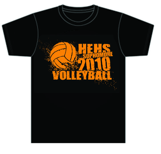 high schools volleyball and volleyball team shirts on