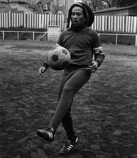 Bob Marley playing football, 1976