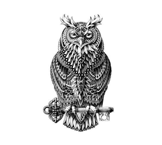 confident owl tattoo design