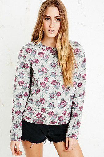 Pins & Needles Quilted Sweatshirt in Rose Print - Urban Outfitters