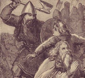 'Brian was too old to lead his troops into [the Battle of Clontarf] and was watching the progress of his forces from a tent...Brodar, a Danish commander, rather than risk crossing the battlefield turned north hoping to...reach the coast, [which] led him directly past...where Brian had his tent. When he realised who was in the tent, he attacked it and killed Brian...as [he] knelt praying. Brian's body was carried to Swords...he was buried in a stone coffin in what is now St Patrick's…