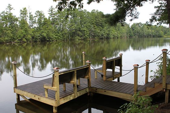 Benches stains and ropes on pinterest for Pond pier plans