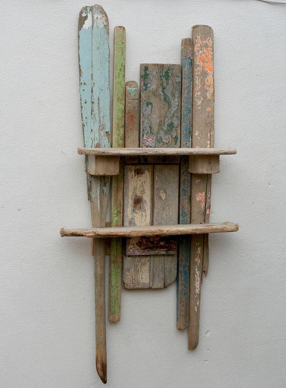 Wall Mounted Shelf Driftwood Shelf And Art Sculptures On