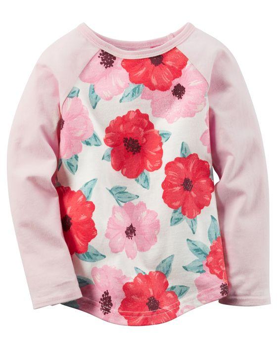 Kid Girl Long-Sleeve Floral Raglan Tee | Carters.com: