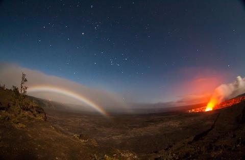 Kilauea Volcano Big Island of Hawaii - 1 am - Moonbow and Halemaumau crater dance in the night