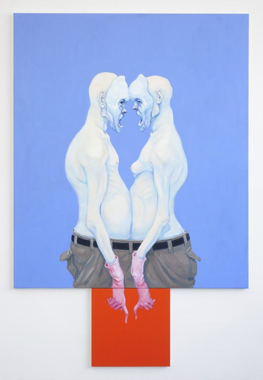Michael Kvium Double Couple Scene 2013 225 X 150 Cm 2 Parts 175 X 150 50 X 50 Cm Malerier Kunstnere Plakater
