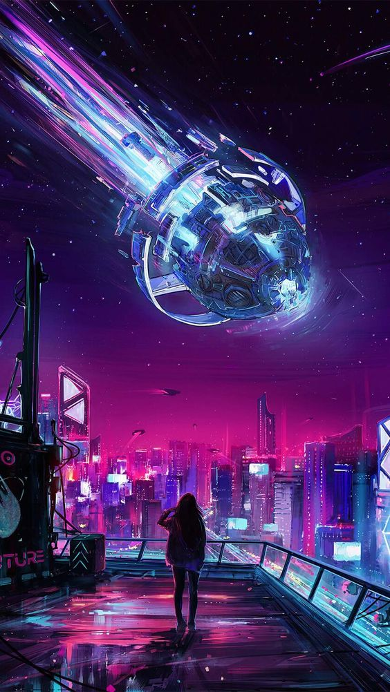 Meteor Falling Iphone Wallpaper Cyberpunk City Cyberpunk Aesthetic Cyberpunk Art