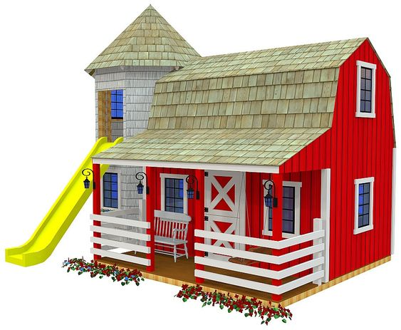 Playhouse plans kids playhouse plans and barns on pinterest for Outdoor playhouse designs