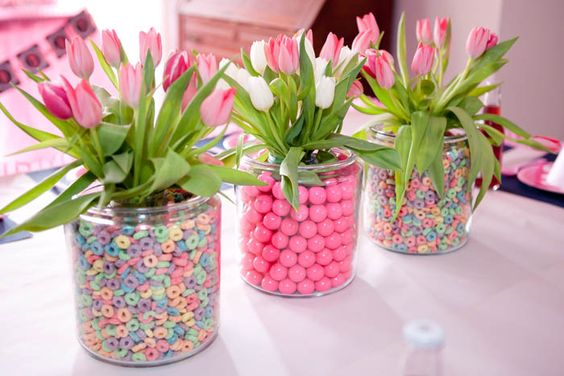 Easter! Cereal and gumball flower centerpieces!
