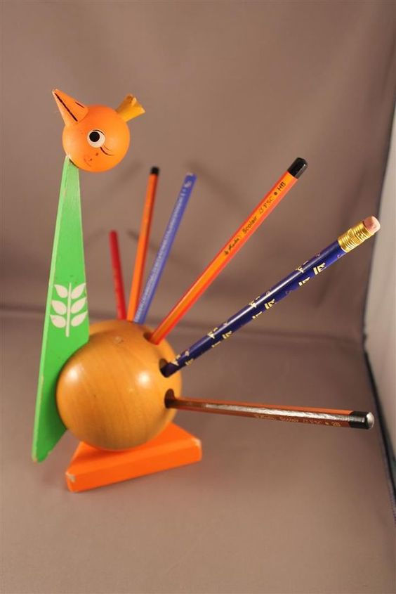 60er 70er Jahre bunter Stifthalter Pfau 70s pencil holder Very rare!! Peacock