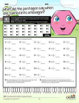 Printables Riddle Math Worksheets math fractions worksheets riddles pack 1 concepts classcrown check out these that