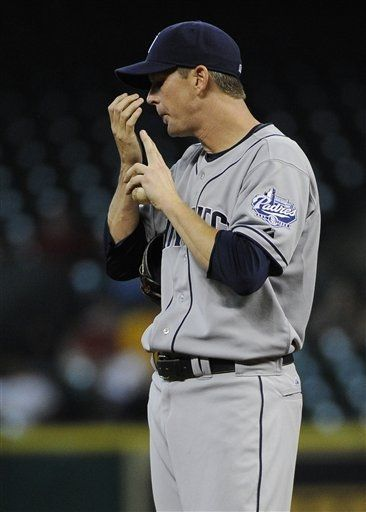 Game #75 6/26/12: San Diego Padres' Kip Wells prepares to throw his first pitch against the Houston Astros in the first inning of a baseball game Tuesday, June 26, 2012, in Houston. (AP Photo/Pat Sullivan)