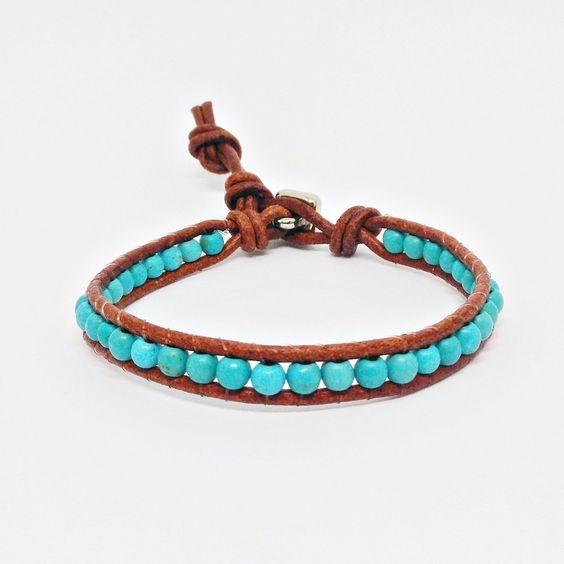 Pulseira Masculina Couro Pedras Turquesa Estilo Chan Luu moda style mens bracelets cocar brasil