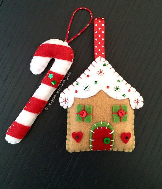 Ca a de pan de jengibre y caramelo de fieltro 2pieces - Caramelos de navidad ...
