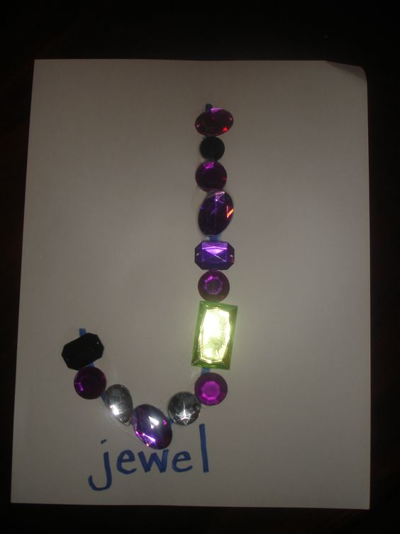 Jewel J - Great project for preschoolers learning the letter J - fine motor with lots of bling!