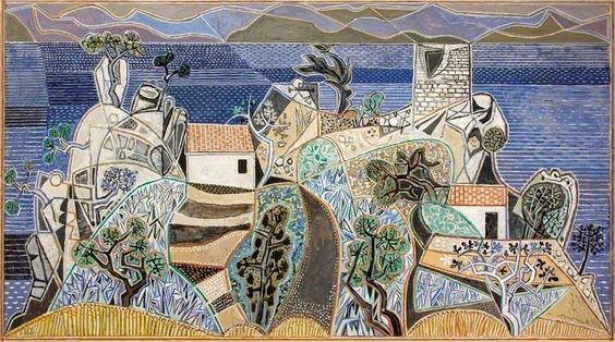 Landscape, Hydra  by John Craxton  Arts Council Collection        Date painted: 1960–1961      Filler & tempera on board, 66.7 x 120.7 cm      Collection: Arts Council Collection