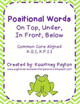 Number Names Worksheets words with z for kindergarten : Positional Words (In Front, On Top, Below, Under) Common Core ...