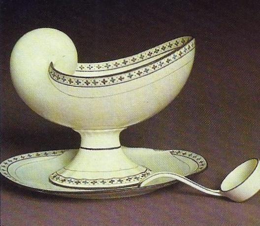 "Queen's ware ""Nautilus"" shape tureen and ladle, c1790. Josiah I was a keen amateur conchologist."