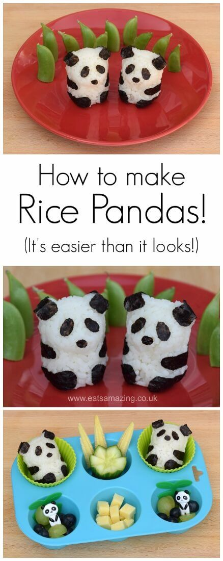 How to make cute panda shaped rice balls - full instructions video tutorial and a fun and healthy panda themed muffin tin meal - from Eats Amazing UK