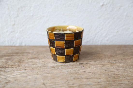 小鹿田焼(おんたやき)/そばちょこ/フリーカップ/市松柄