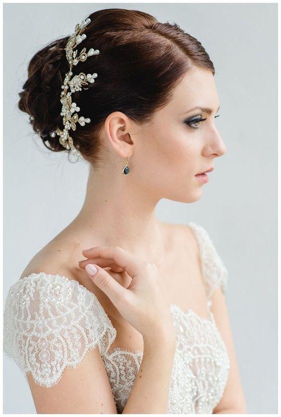 BELLE - gold, darkblue, white, bride, headpiece, accessoires, wedding dress - Hellbunt Events