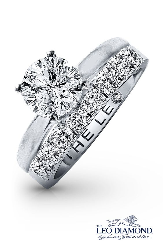 Love shines brighter when you find your perfect match with an engagement ring and wedding band from The Leo Diamond collection.