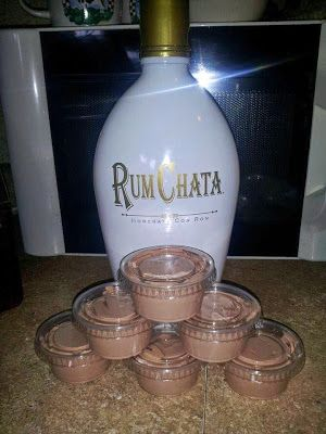 1 4 oz pkg instant chocolate jello pudding 1 cup milk 1 cup Rum Chata 1 8 oz container cool whip  Mix milk, pudding and Rum Chata till thickened, gently mix in cool whip with spatula, pour (kinda thick but not set yet) into plastic jello shot (we call them tarter sauce cups for fish fry here in Wi) cups. Put them in a cake pan in the freezer for a few hours then enjoy! Will not freeze hard due to alcohol in them! Delish!