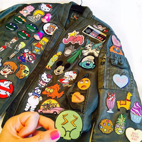 "Cailli & Sam Beckerman on Instagram: ""Working on this #beckermandiy patch jacket that never stops getting patches! Thanks @pewpewpatches for the ones on my sleeve! "":"