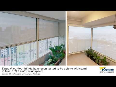 Ziptrak Outdoor Blinds In Rainy Conditions With Strong Winds