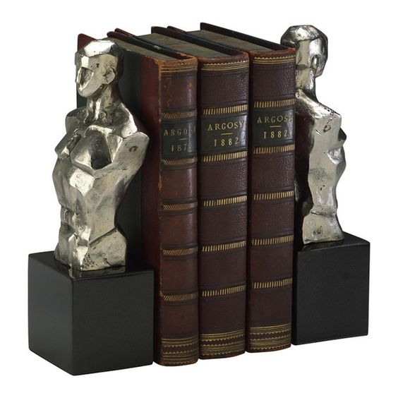 "Iron and granite bookends with chrome and black granite base finish. Dimensions: 9""h x 2.5""d x 3""w"