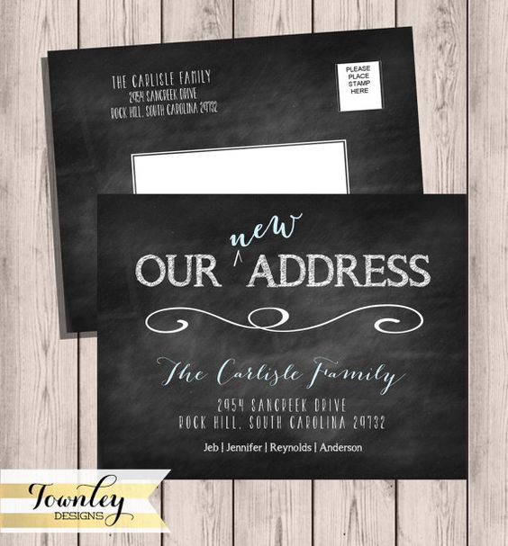 Moving Postcard Chalkboard Moving Announcements by TownleyDesigns