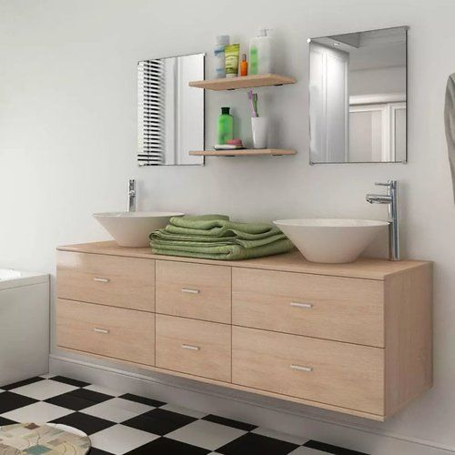 Belfry Bathroom Apollo 9 Piece Bathroom Furniture Set With Mirror Bathroom Furniture Beige Cabinets Cloakroom Basin Vanity Units