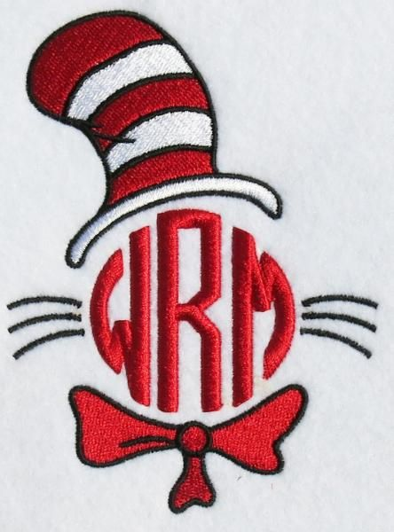 Cat In The Hat Embroidery Monogram Design | Apex ...