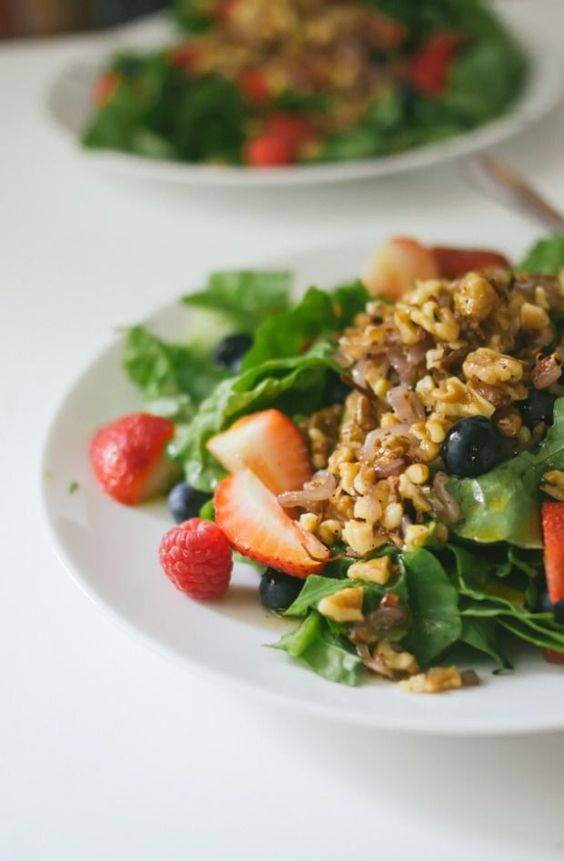 Triple Berry Salad with Sauteéd Shallots and Walnuts in a Cayenne ...
