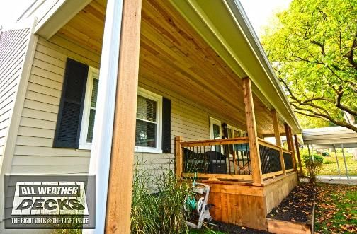 Slanted Roof Covered Cedar Deck With Solid Skirting And Tongue And Groove Ceiling In Kansas City Mo In 2020 Patio Pictures Patio Oasis Ideas Covered Decks