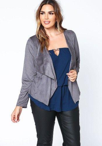 Plus Size Grey Velvet Blazer