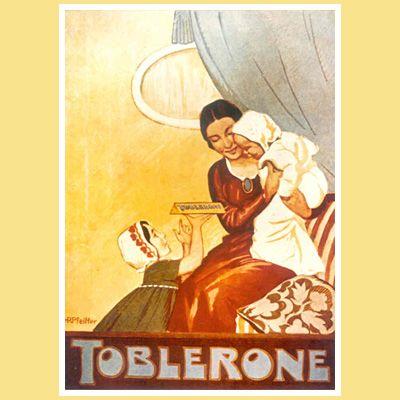 Toblerone. Mutter-Kind-Szene. Werbung aus dem Jahr 1920.
