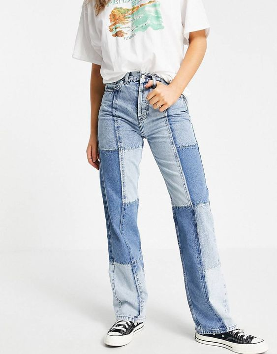 Topshop patchwork 90's straight leg jeans in bleach