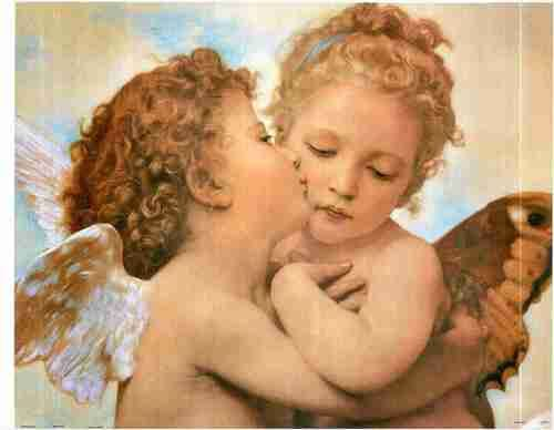 Two Little Angels Couple The First Kiss Wall Decor Fine Art Print