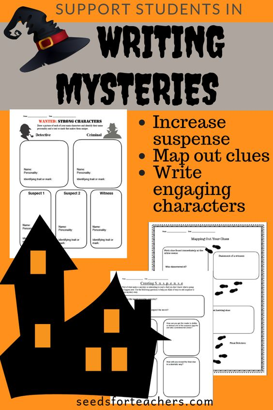 Halloween is the perfect time to have student practice writing mysteries. Often mysteries can be difficult for students and they end up illogical and disjointed. These graphic organizers will provide enough supports for students to succeed.