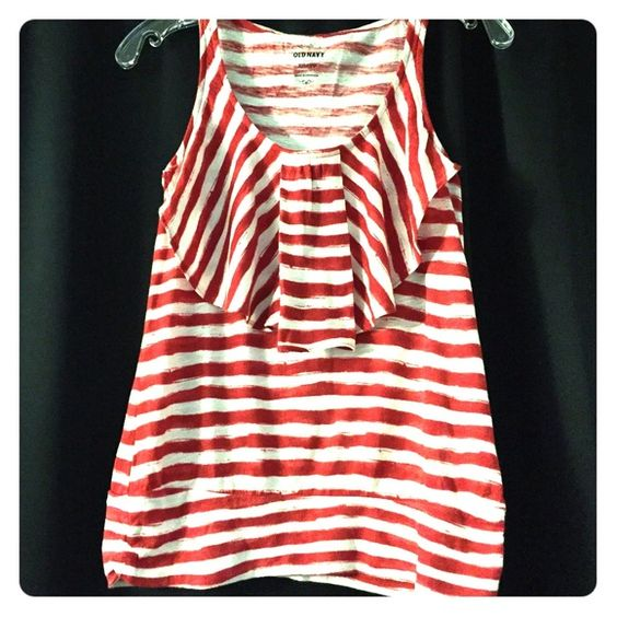 Red & White striped tank Tank top with ruffle ❤️ Old Navy Tops Tank Tops