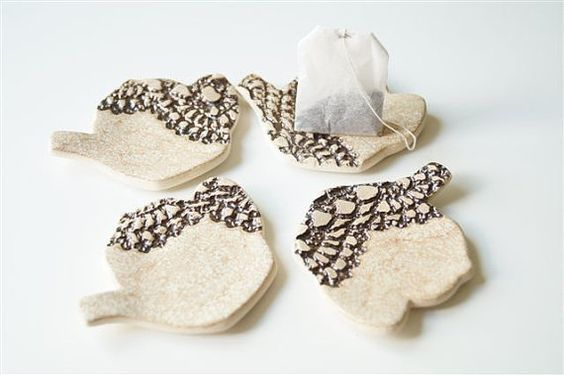 Tea Bag Holder Tea Bag Rest Set of Four Ceramics and by bemika, $18.00