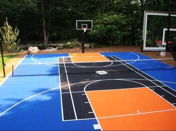 Well Done Full Court Featuring First Team Titan Arena Adjustable Basketball Goals Www Firs Basketball Court Backyard Outdoor Sports Court Backyard Basketball
