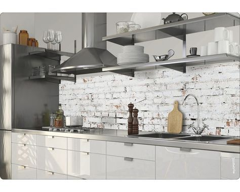 Kuchenruckwand Klebefolie Myspotti Splash White Bricks 280x60 Cm Kuchenruckwand Kuche Renovieren Fliesenspiegel Kuche